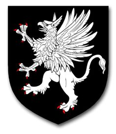 Griffin of Batherton Arms: Sable, a griffin segreant Argent.