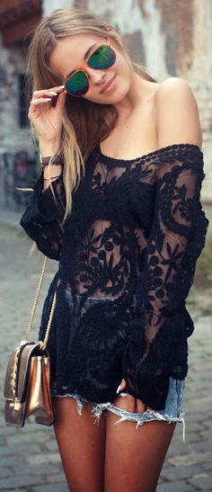 sheer laces top with black bra and denim mini skirt - women street fashion