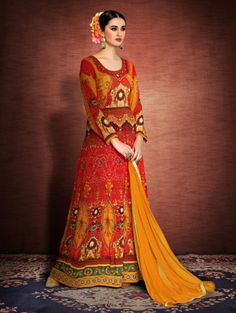 Red and Yellow Silk Anarkali Suit with Embroidery Work  haldi ceremony?