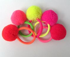 Neon Pom Pom Girls Hairbands Large Neon Wool Pom Pom Neon Elastic Hair bands Girls Hair Accessories Gifts for Girls Assorted Colors 10+ by midgetgems. Explore more products on http://midgetgems.etsy.com