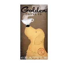 GOLDEN RETRIEVER Coffee Company graphic art by nativevermont, $39.00