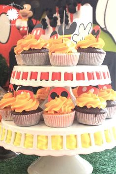 Cupcakes at a Mickey Mouse Party #mickeymouse #partycupcakes