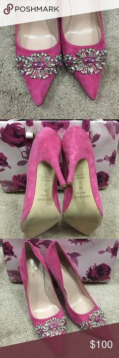 "Size 8.5 Kate Spade Pink Heels NWOT Gorgeous deep pink suede heels with beautiful jewels on the toe. These are unworn, but I do not have the box. (They do have a dustbag though). Heel style & fit is similar to the ""licorice"" style, which I cannot wear. These are perfect for the holidays!!! No missing jewels. Fits like a true 8.5 kate spade Shoes Heels"