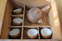 vintage Japanese signed STUDIO POTTERY Bizen tea set. $55.00, via Etsy.
