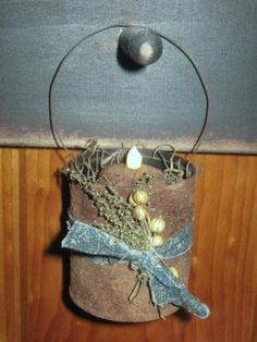 Hanging Rusty Tin Cubbie Light-rusty cans, rusty tin, tea lights, hanging rusty tin cubbie light,