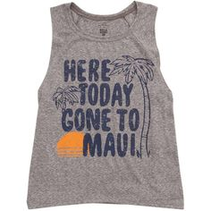 Billabong Women's Rockin Waves Muscle Tee (€23) ❤ liked on Polyvore featuring tops, dark athletic grey, t-shirt/prints, gray tank top, sleeveless tank, palm tree tank top, billabong tank and graphic tops