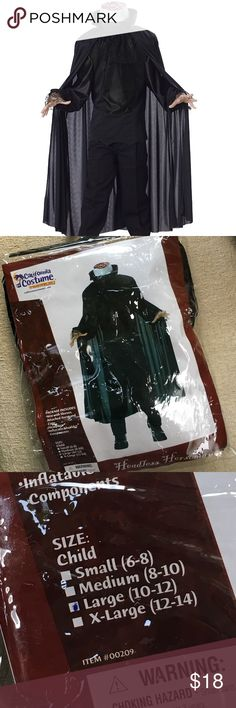 """🎃👻💀 HEADLESS HORSEMAN Costume Kids HEADLESS HORSEMAN Halloween Costume. Size Large (10-12). Wore Once. As Per Sizing Chart Fits up to 32"""" chest. 26"""" waist 32"""" hips 61"""" height. Up to 90lbs. Excellent Condition. Stored in Package. California Costume Costumes Halloween"""
