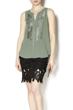 Slightly sheer button front tank with tonal embroidery.   Craft Shell by Sanctuary. Clothing - Tops - Sleeveless Clothing - Tops - Tees & Tanks Clothing - Tops - Blouses & Shirts Marina, San Francisco