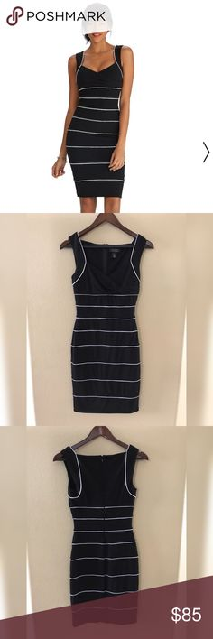 White House Black Market Sleeveless Dress White House Black Market Sleeveless Dress  Add this to bundle and I'll offer discounted shipping 😃  Excellent Condition  Black And White Instantly Slimming White House Black Market Dresses