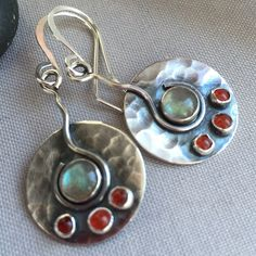 Oxidized Sterling Silver Earrings with Labradorite.