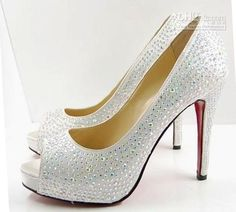 more christian louboutin white rhinestone angelic shoes!!