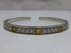 JUDITH RIPKA STERLING SILVER 14K GOLD CLAD CANARY CRYSTAL HINGED CUFF BRACELET