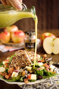 Harvest Salad with Pecan Crusted Chicken is full of great fall flavors including dried cranberries, bacon, apples and a pecan crusted chicken breast. Pecan Recipes, Fall Recipes, Healthy Recipes, Apple Recipes Savory, Vinaigrette, Harvest Salad, Harvest Chicken Salad Recipe, Pecan Crusted Chicken, Healthy Weekly Meal Plan