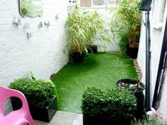 I found this on Rightmove  fake grass and a vintage mirror love it