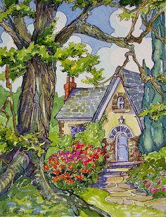 "Peinture ""Stucco and Stone"" par Alida Akers (série Storybook Cottage)"