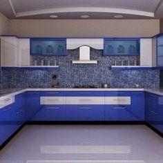 azzure blue u shaped modular kitchen in contemporary designs - Kitchen Design Catalogue