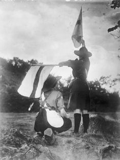 Guides practising semaphore 1914-18 Ghosts of 1914: Raise the Flag: Semaphore Signaling for War and Peace