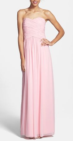 Lovely strapless chiffon gown for the bridesmaids