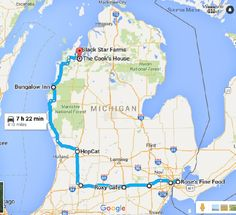 Part of the journey is through your taste buds. ** THREE(3)-day Road Trip of some of Michigans's great Restaurants - all MAPPED out!