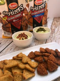AD Creamy Avocado Dip with Tyson® Any'tizers® Chicken Chips - So TIPical Me available at Walmart! Tyson Chicken, Bbq Chicken, Frozen Appetizers, Chicken And Chips, Tyson Foods, Avocado Dip, Meat Chickens, White Meat, Stuffed Jalapeno Peppers