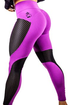 BootyQueen™ Laser Cut Legging Purple & Black