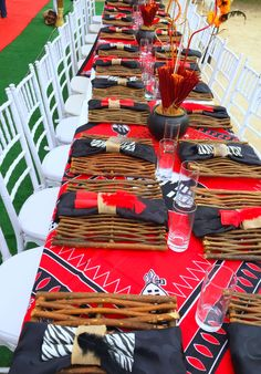 Red & Black Swazi traditional wedding decor at Shonga Events African Party Theme, African Wedding Theme, Zulu Traditional Wedding, Traditional Decor, Rustic Wedding Decorations, Table Decorations, Zulu Wedding, Africa Decor, African Home Decor