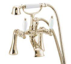 The Deva Georgian Deck Mounted Bath Shower Mixer Tap GOLD with Shower Kit is part of the Deva Modern Traditional Taps Range.