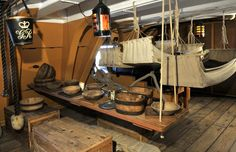 Crew quarters on sailing ship.