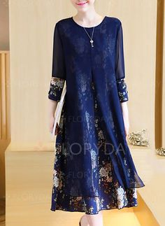 Poliéster Floral Manga 1036707/1036707 Longuete Elegante Vestidos (1036707) @ floryday.com