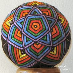 Temari are Japanese thread balls. That is, they are balls that are both wrapped with thread and yarn and then embroidered.