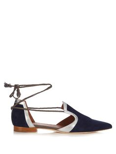 Malone Souliers Haji lace-up suede flats