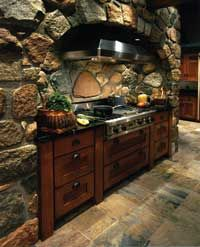 If only I could squeeze this natural stone hearth into my kitchen...