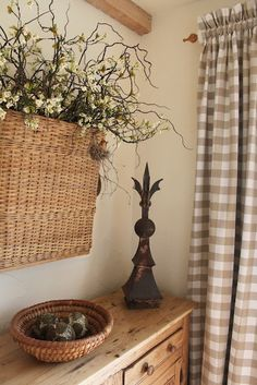 Basket of flowers on wall