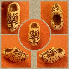 Wood carving klompen... lekker lopen klompen ;) with pyrography...