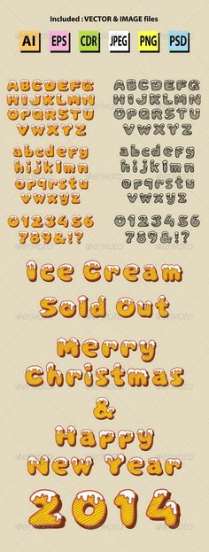 Snow Alphabet Hand Drawn Vector  #GraphicRiver         Frozen text alphabet and numbers, color and black transparent vector design. Good use for your initial, logo, event fonts, kid letter or any design you want. Sample included.  	 ZIP included : AI CS, EPS8, CDR coreldraw (Vector files = You can use any size you want without loss resolution), JPEG high resolution, PHG transparent, and PSD photoshop file.  	 Alphabet objects…