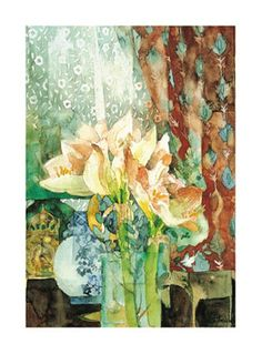 Pink Amaryllis, Red Curtain Print by Shirley Trevena at Art.com