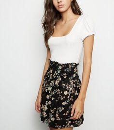Brave Soul Black Floral Shirred Waist Skirt New Look Jeans Dress, Jacket Dress, Diy Inspiration, Skirt Leggings, White Tees, High Waisted Skirt, Waist Skirt, Design Model, New Look