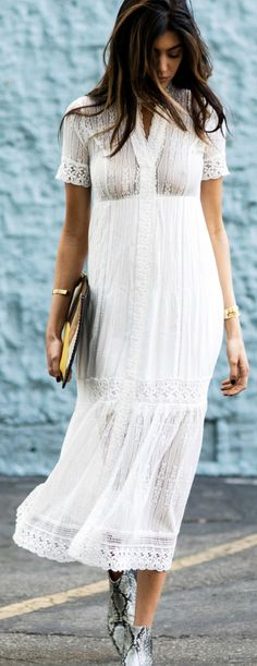 White lace + Kelsey Taylor White + flowing dress + faux snakeskin + ankle boots + cute clutch  Dress: Bardot Valentina, Bag: Madison Harding, Bracelets: Coordinates Collection, Shoes: Aska Lott.