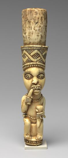 Kongo, Ivory Royal Scepter,   D. R. of Congo or Angola,19th-20th century.