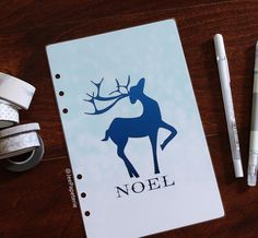 Planner DASHBOARD: NOEL Blue Foil text and by JeePapeterieShop