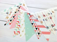Bunting Banner, Girl Nursery Decor, Birthday Decoration, Nursery Decor - Coral Pink,Blush Pink,Mint Green,Gold,Aztec Nursery,Tribal Nursery