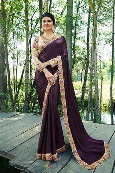 bb4be8b39a Prachi Desai Purple Satin Silk Plain Saree With Designer Blouse. WomenOracle