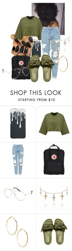 """Fenty Puma Slides Outfit"" by slaaay ❤ liked on Polyvore featuring Topshop, Fjällräven, Blue Crown and GUESS by Marciano"