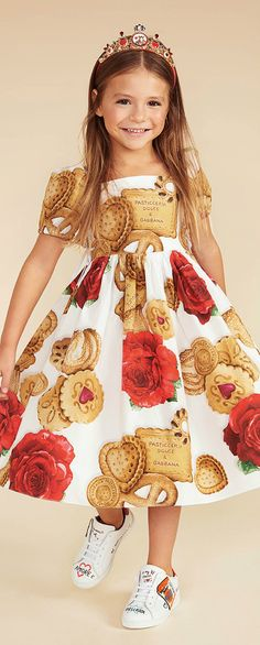 DOLCE & GABBANA Baby Girls Mini Me Patecceria Cookie Print Dress for Spring Summer 2018. Love this delightfully pretty mini me look inspired by the D&G Women's Collection.. Perfect Special Occasion Summer Party dress for a little princess at the beach or on vacation. Pretty Summer Look for a stylish kid, tween and teen girls. . #dolcegabbana #girlsclothing #kidsfashion #fashionkids #girlsdresses #childrensclothing #girlsclothes #girlsfashion