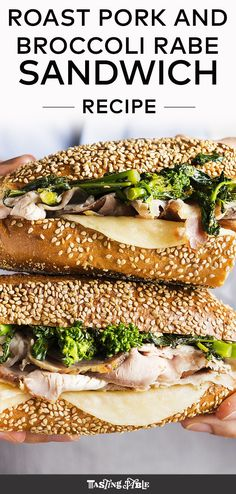 the roast pork and broccoli rabe sandwich with provolone is Philly's best sandwich. Pork Broccoli, Broccoli Rabe And Sausage, Broccoli Rabe Recipe, Grilled Broccoli, Pork Roast Recipes, Meat Recipes, Philly Roast Pork Recipe, Game Recipes, Amigurumi