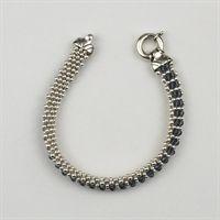 Crocheted Bracelet, Silver/Blue