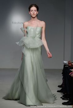 Vera Wang's latest collection featured gowns in an array of colors, including celadon, charcoal gray, and several styles in a soft, creamy taupe color.
