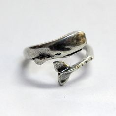 Silver Moby Dick Whale Ring in Solid White Bronze with Sterling Overlay Sperm Whale Ring
