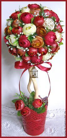 Купить Топиарий-дерево счастья и благополучия - разноцветный, розы, камелии, топиарий, топиарий дерево счастья