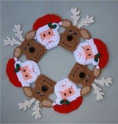 Free Printable Plastic Canvas Patterns   Santa and Reindeer Wreath Plastic Canvas Pattern Christmas   eBay